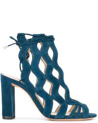 Sandalias de ante en verde azulado de Alexandre Birman
