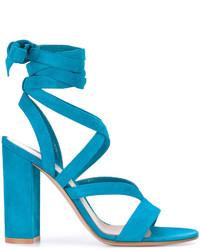 Sandalias de ante en verde azulado de Gianvito Rossi