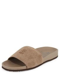 Sandalias de ante marrón claro