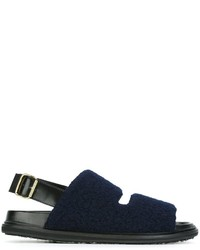 Sandalias de cuero azul marino de Marni