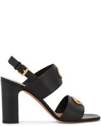 Sandalias de cuero con adornos negras de Valentino