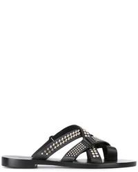 Sandalias de cuero con tachuelas negras de Dsquared2
