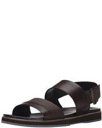 Sandalias de cuero en marrón oscuro de Calvin Klein