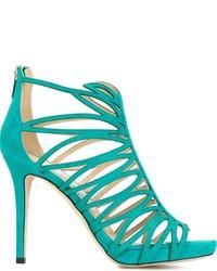 Sandalias de cuero en verde azulado de Jimmy Choo