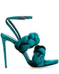 Sandalias de cuero en verde azulado de Marco De Vincenzo