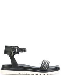 Sandalias de Cuero Gruesas Negras de Armani Jeans