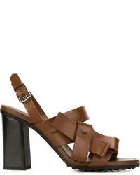Sandalias de cuero marrónes de Tod's