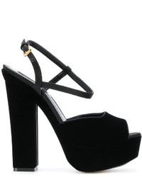 Sandalias de cuero negras de Dsquared2