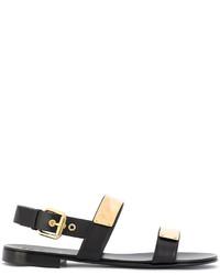 Sandalias de cuero negras de Giuseppe Zanotti Design