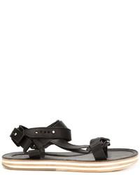 Sandalias de cuero negras de Sacai