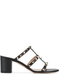 Sandalias de cuero negras de Valentino