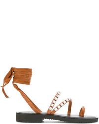 Sandalias de Cuero Tabaco de Giuseppe Zanotti Design