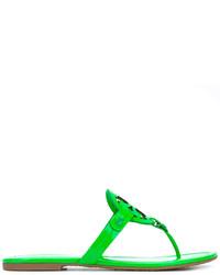 Sandalias de cuero verdes de Tory Burch