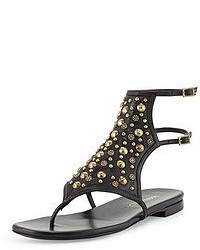 Sandalias de dedo de cuero con adornos negras