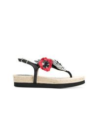 Sandalias de dedo de cuero con print de flores negras de Sonia Rykiel