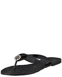 Sandalias de dedo de cuero negras