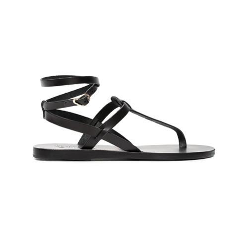 Sandalias de dedo de cuero negras de Ancient Greek Sandals