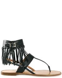 Sandalias de dedo de cuero сon flecos negras de Valentino Garavani