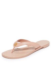 Sandalias de dedo de cuero rosadas