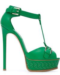 Sandalias de dedo de cuero verdes de Casadei