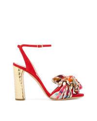 Sandalias de tacón de ante a cuadros rojas