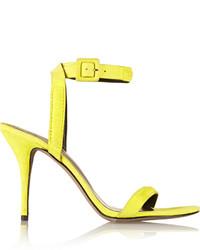 Sandalias de tacón de ante amarillas