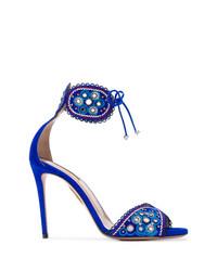 Sandalias de tacón de ante azules de Aquazzura