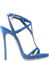 Sandalias de tacón de ante azules de Dsquared2