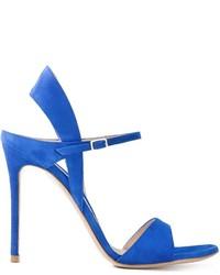 Sandalias de tacón de ante azules de Gianvito Rossi