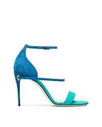 Sandalias de tacón de ante azules de Jennifer Chamandi