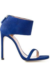 Sandalias de tacón de ante azules de Stuart Weitzman