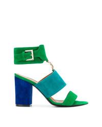 Sandalias de tacón de ante azules de Via Roma 15