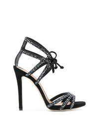 Sandalias de tacón de ante con adornos negras de Marc Ellis