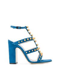 Sandalias de tacón de ante con tachuelas azules de Pollini