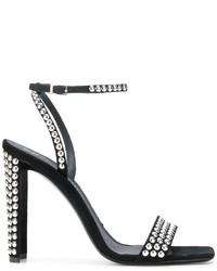 Sandalias de Tacón de Ante con Tachuelas Negras de Giuseppe Zanotti Design