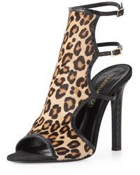 Sandalias de tacón de ante de leopardo marrón claro