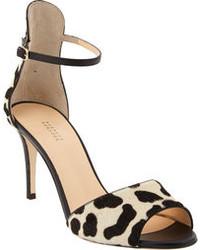 Sandalias de tacón de ante de leopardo negras