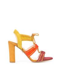 Sandalias de tacón de ante en multicolor