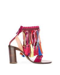 Sandalias de tacón de ante en multicolor de Chloé