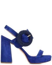 Sandalias de tacón de ante gruesas azul marino de Twin-Set
