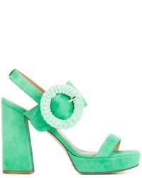 Sandalias de tacón de ante gruesas en verde menta de Twin-Set