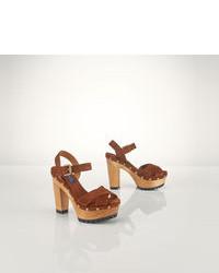 Sandalias de tacón de ante marrónes