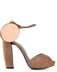 Sandalias de tacón de ante marrónes de Pierre Hardy
