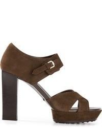 Sandalias de tacón de ante marrónes de Tod's