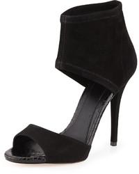 Sandalias de tacón de ante negras