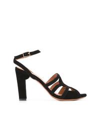 Sandalias de tacón de ante negras de Chie Mihara