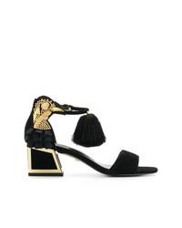 Sandalias de tacón de ante negras de Kat Maconie