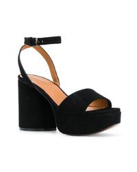 Sandalias de tacón de ante negras de Clergerie