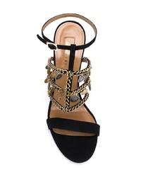 Sandalias de tacón de ante negras de Aquazzura