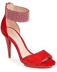 Sandalias de tacón de ante rojas